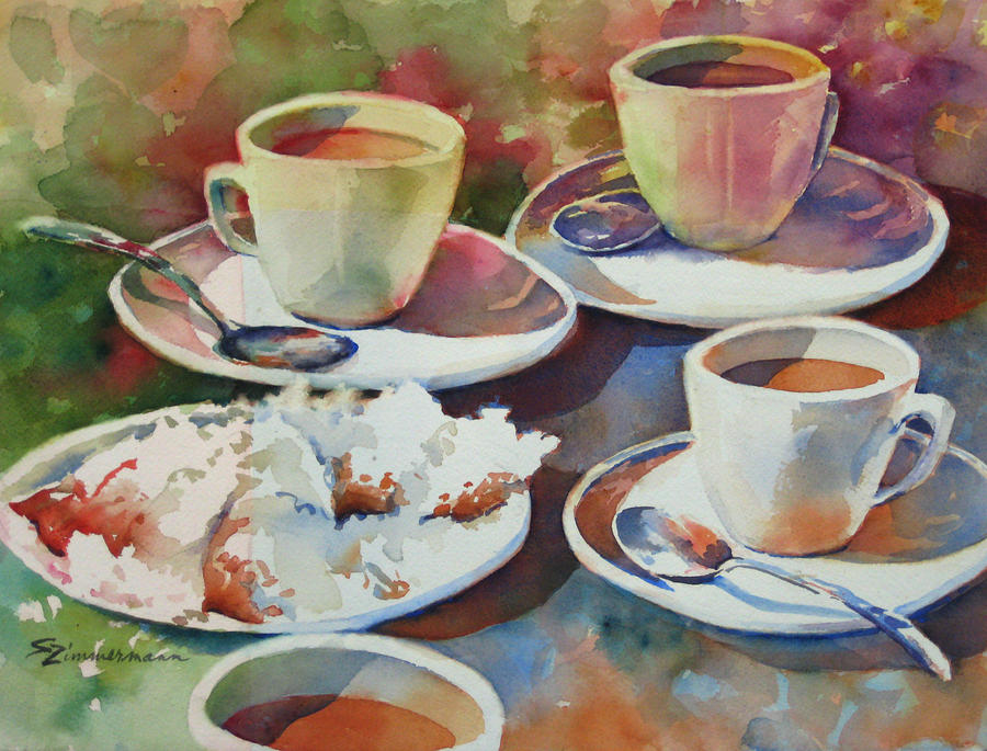 Coffee Painting - Coffee And Beignets by Sue Zimmermann