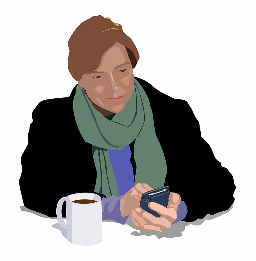 Femail Digital Art - Coffee And Cellphone by Robert Bissett
