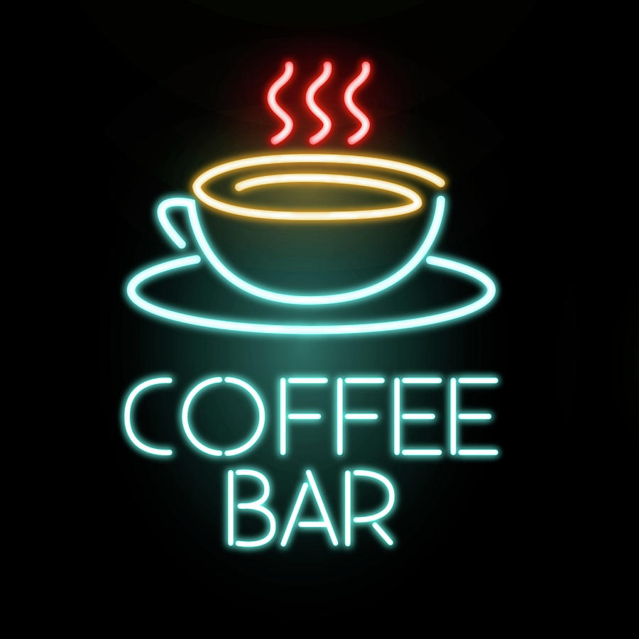 Coffee Bar Neon Mixed Media by Gina Dsgn