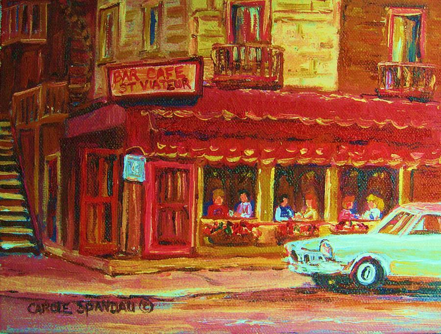 St Painting - Coffee Bar On The Corner by Carole Spandau