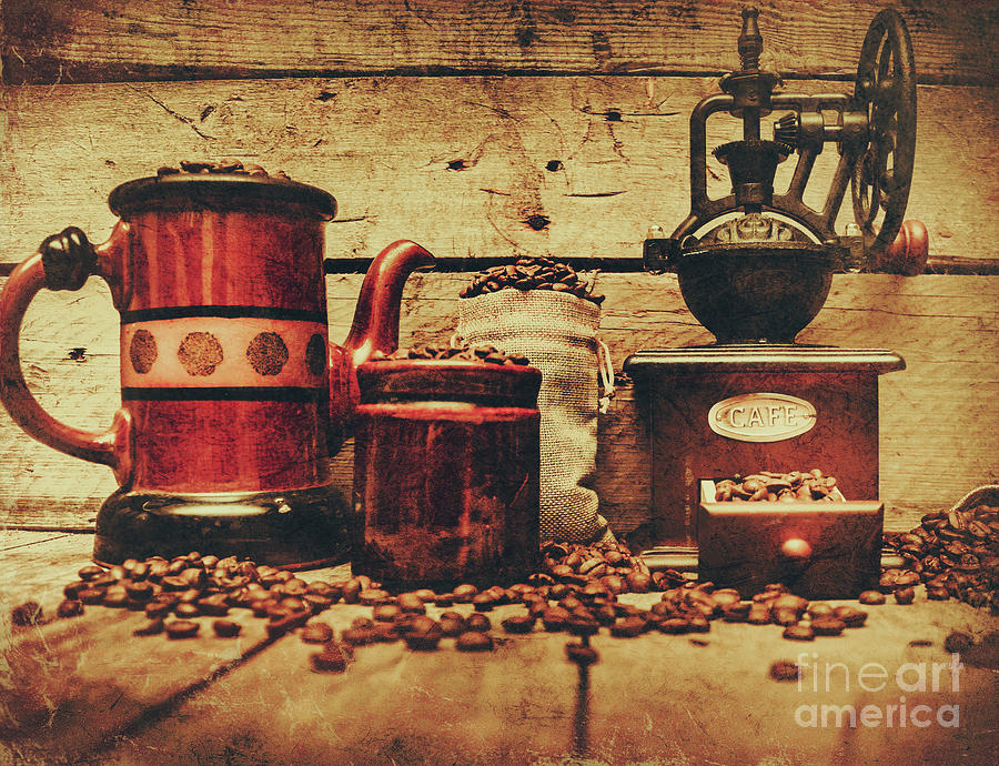 Beverage Photograph - Coffee Bean Grinder Beside Old Pot by Jorgo Photography - Wall Art Gallery