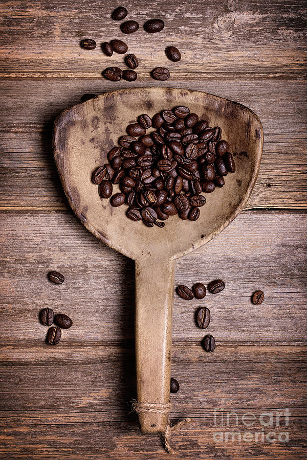 Coffee Photograph - Coffee Beans In Antique Scoop. by Jane Rix