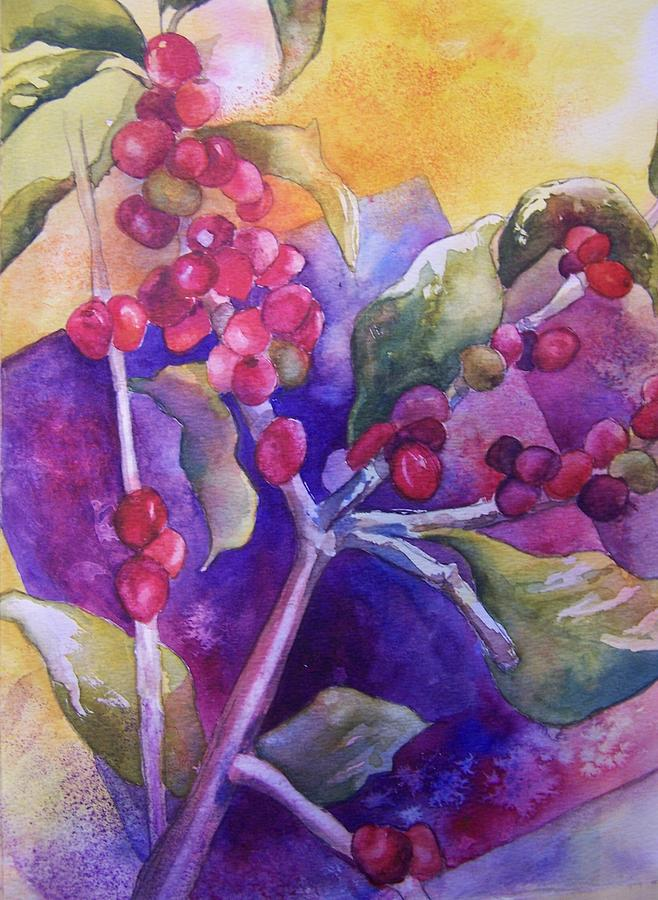 Nature Painting - Coffee Berries by Sandy Collier