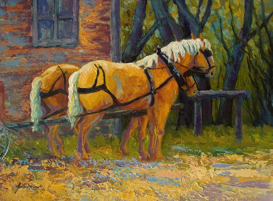 Horses Painting - Coffee Break - Draft Horse Team by Marion Rose