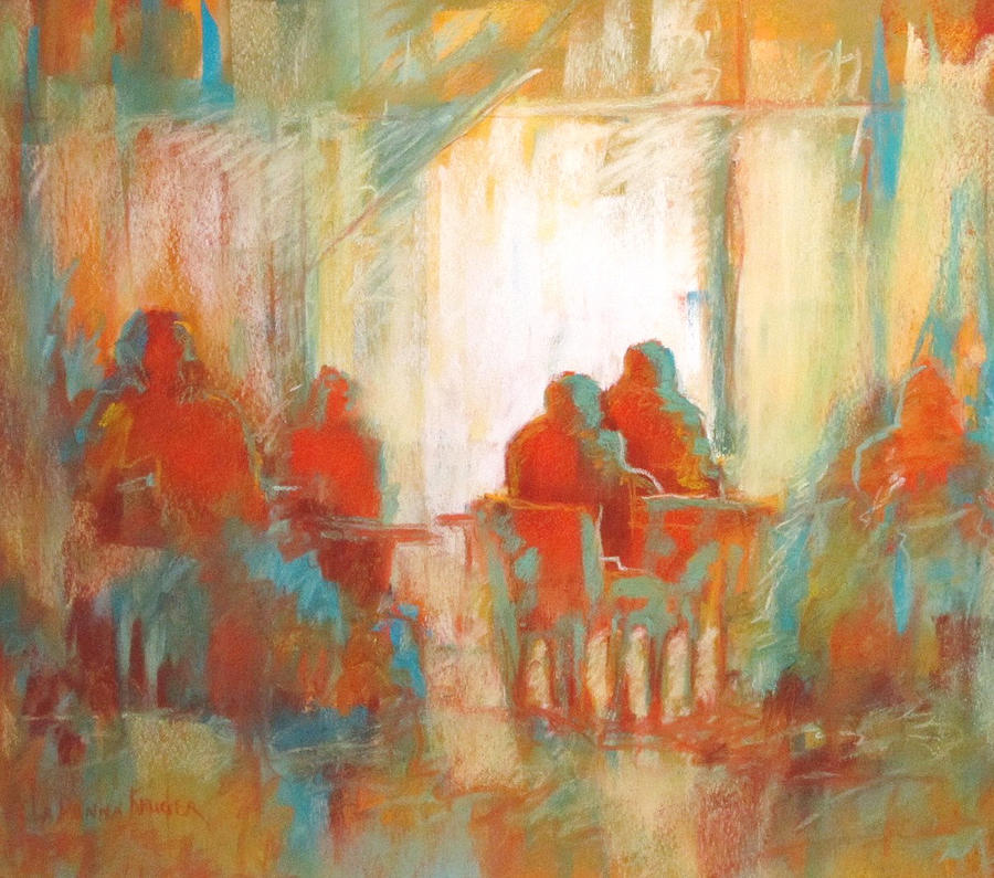 Figurative Painting - Coffee Break by LaDonna Kruger