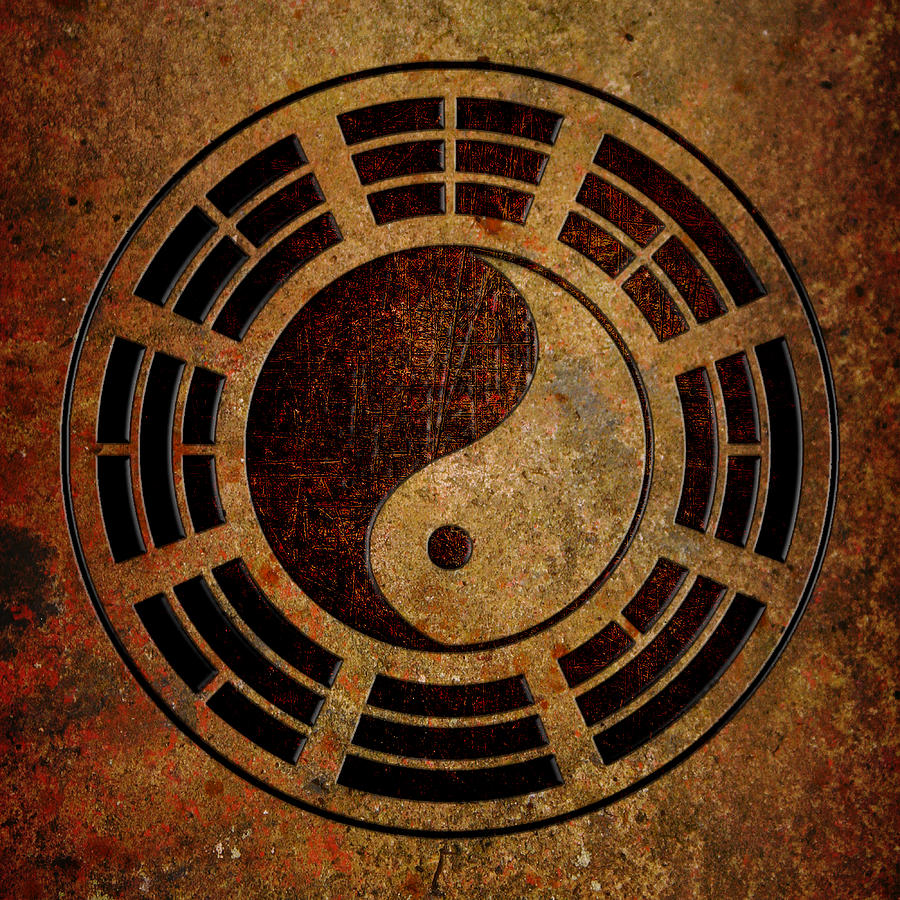 Coffee Color Yin Yang Sign on Stone Background by Fred Bertheas