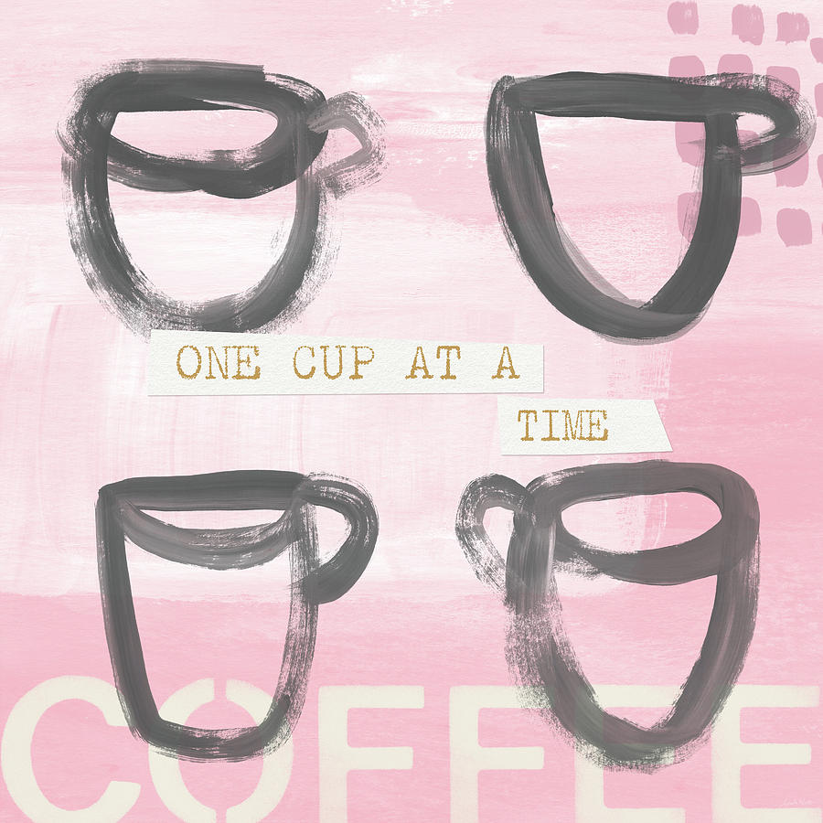 Coffee Mixed Media - Coffee Cups Pink- Art By Linda Woods by Linda Woods