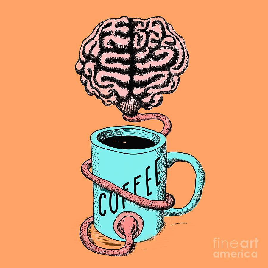 Coffee Digital Art - Coffee For The Brain Funny Illustration by Cesar Padilla