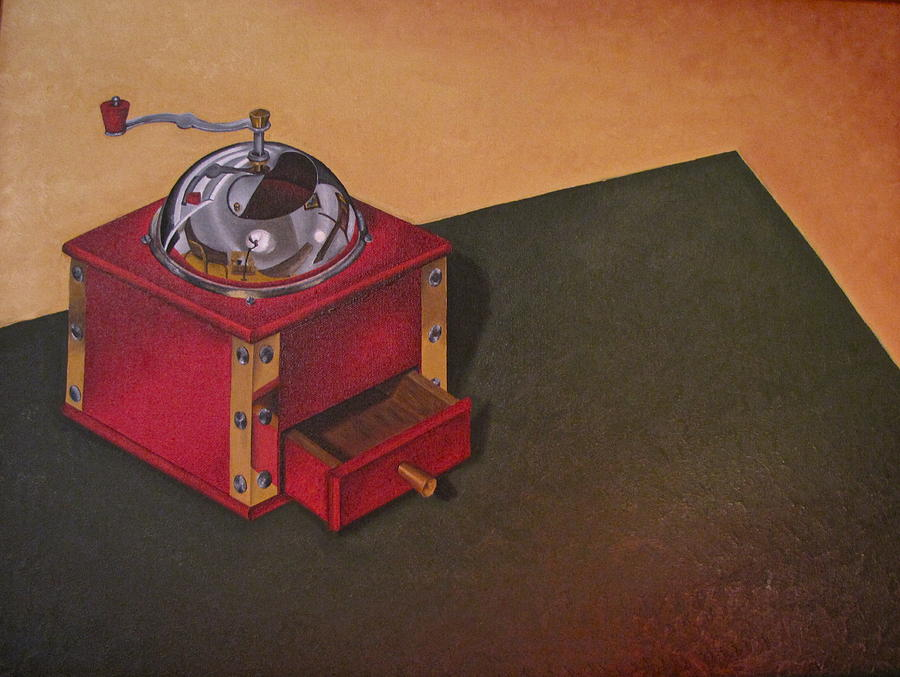 Red Painting - Coffee Grinder by Lori Miller