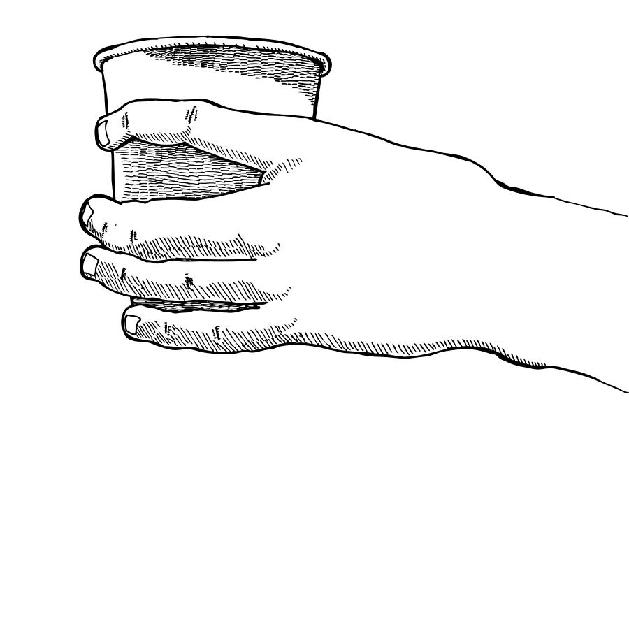 Drawing Drawing - Coffee Hand by Karl Addison