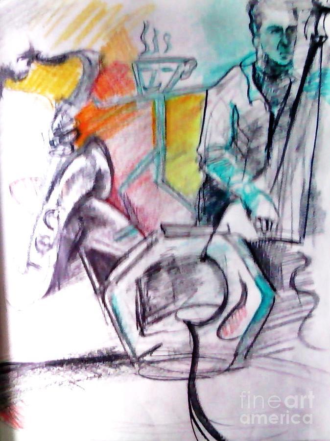 Jazz Drawing - Coffee House Jazz by Jamey Balester