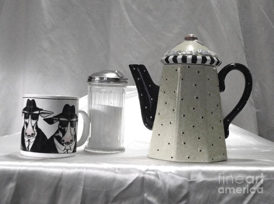 Coffee Photograph - Coffee In Black And White by Donna Dixon
