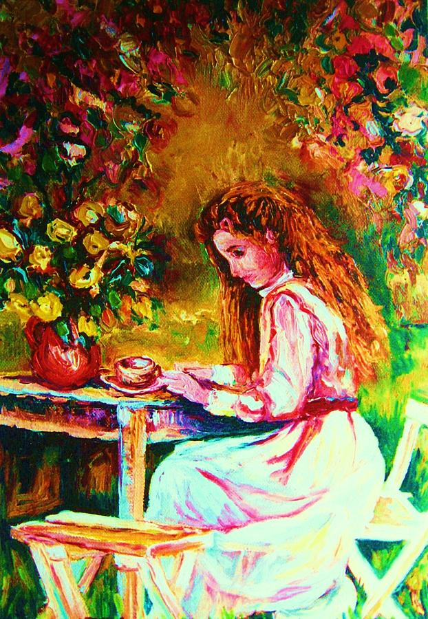 Impressionism Painting - Coffee In The Garden by Carole Spandau