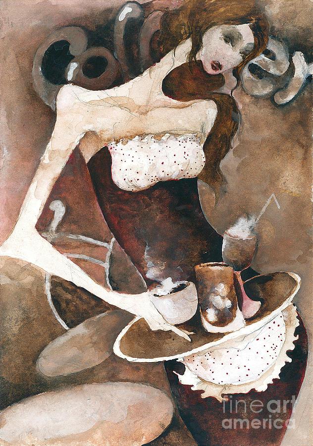 Woman Painting - Coffee Shop by Maya Manolova