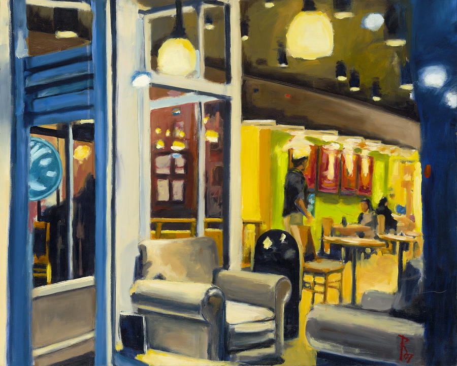 Oil Paint Painting - Coffee On 5th Ave by Robert Reeves