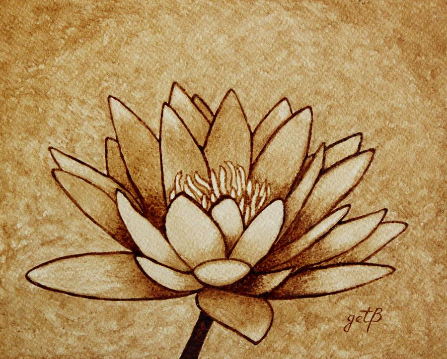 Coffee painting water lilly blooming painting by georgeta for Coffee painting designs
