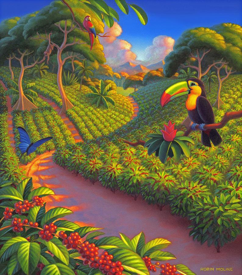 Coffee Plantation Painting - Coffee Plantation by Robin Moline
