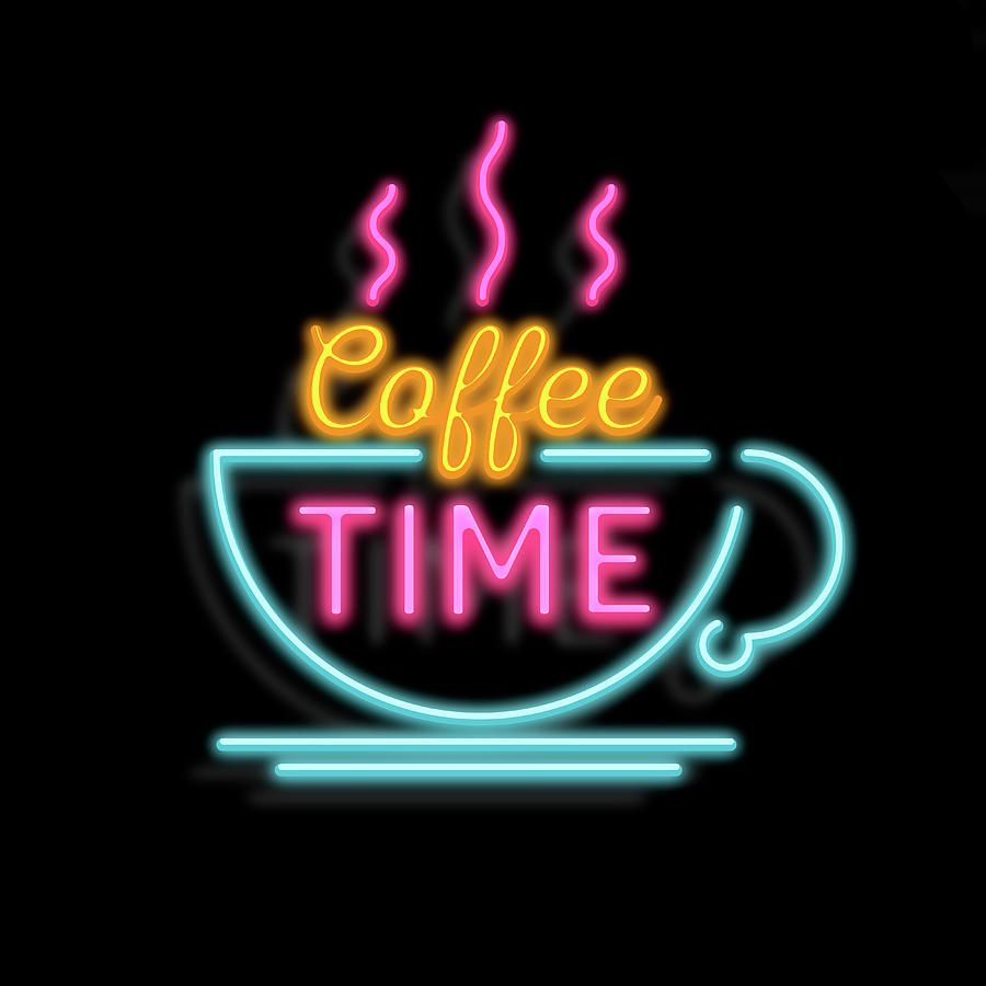 Coffee Time Neon Mixed Media by Gina Dsgn