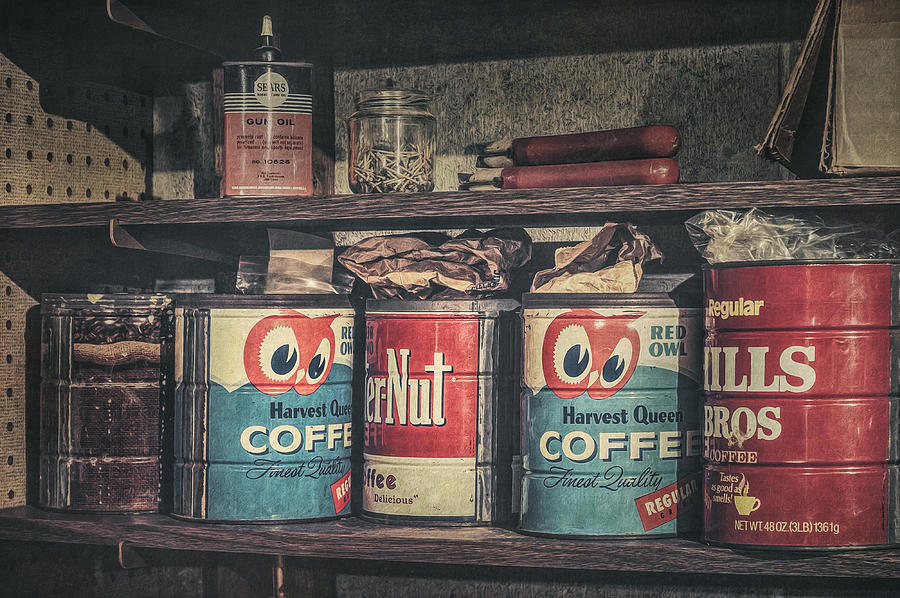 Coffee Tins All In A Row Photograph