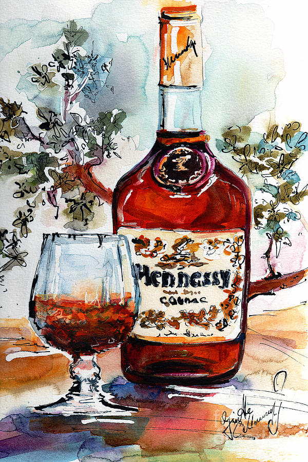 Cognac Hennessy Bottle And Glass Still Life Painting by Ginette Callaway