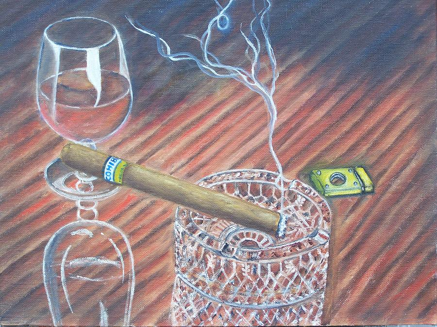 Cigars Painting - Cohiba And  Wine by Charles Vaughn