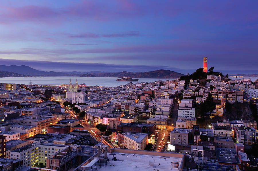 Horizontal Photograph - Coit Tower And North Beach At Dusk by Photo by Brandon Doran