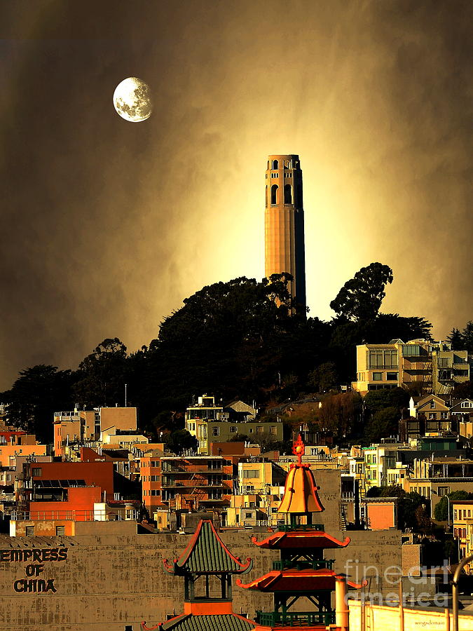 San Francisco Photograph - Coit Tower And The Empress Of China Under The Golden Moonlight by Wingsdomain Art and Photography