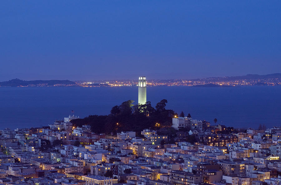 Coit Tower Photograph - Coit Tower At Dusk San Francisco California by Carol M Highsmith