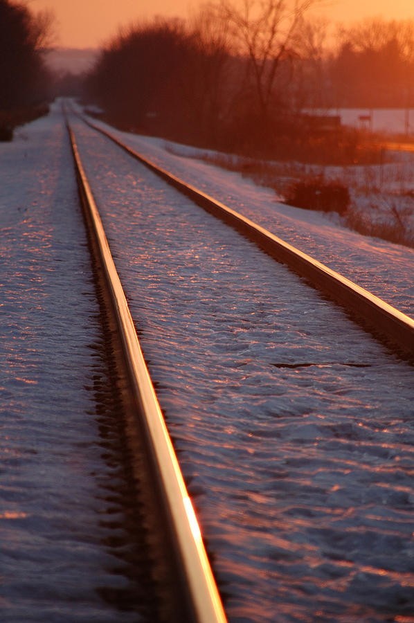 Train Photograph - Cold Line Sunset by Jame Hayes