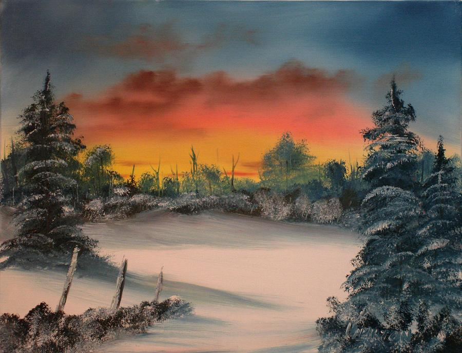 Oil Painting Painting - Cold Morning Sunrise by Larry Hamilton