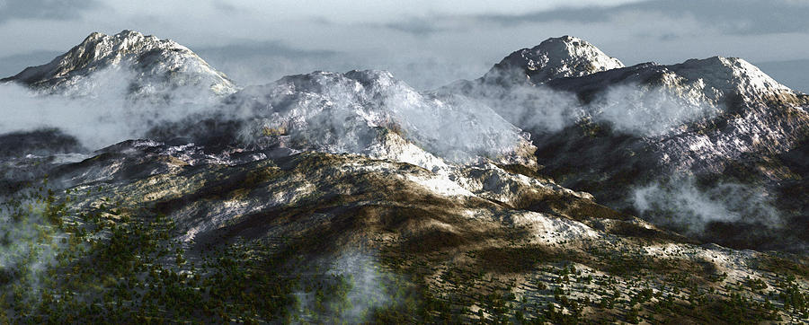 Mountains Digital Art - Cold Mountain by Richard Rizzo