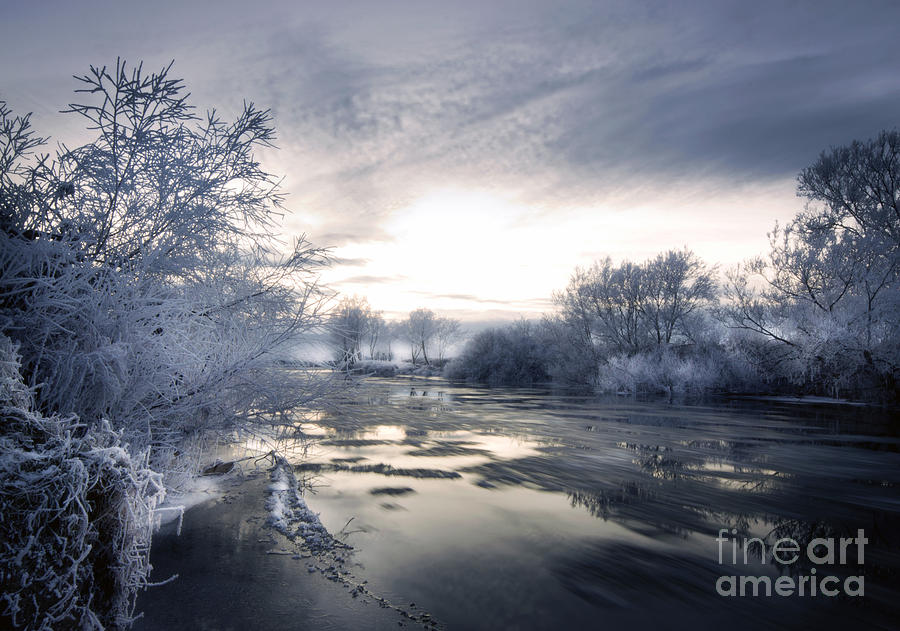 Winter Photograph - Cold River Flow by Angel  Tarantella