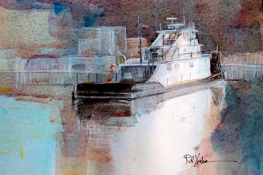 Barge Painting - Cold River by Robert Yonke
