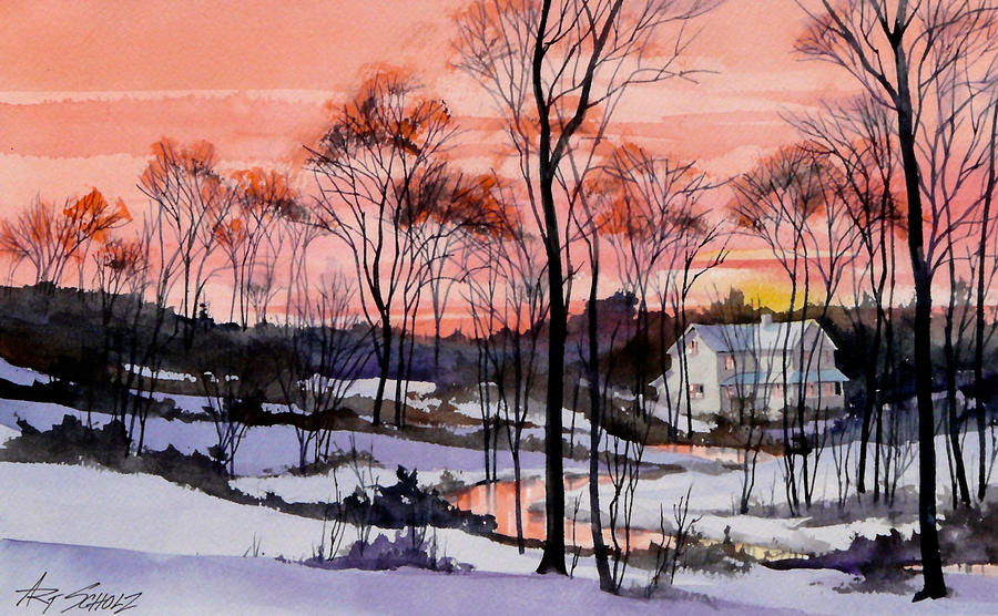Sundown Painting - Cold Sunset by Art Scholz