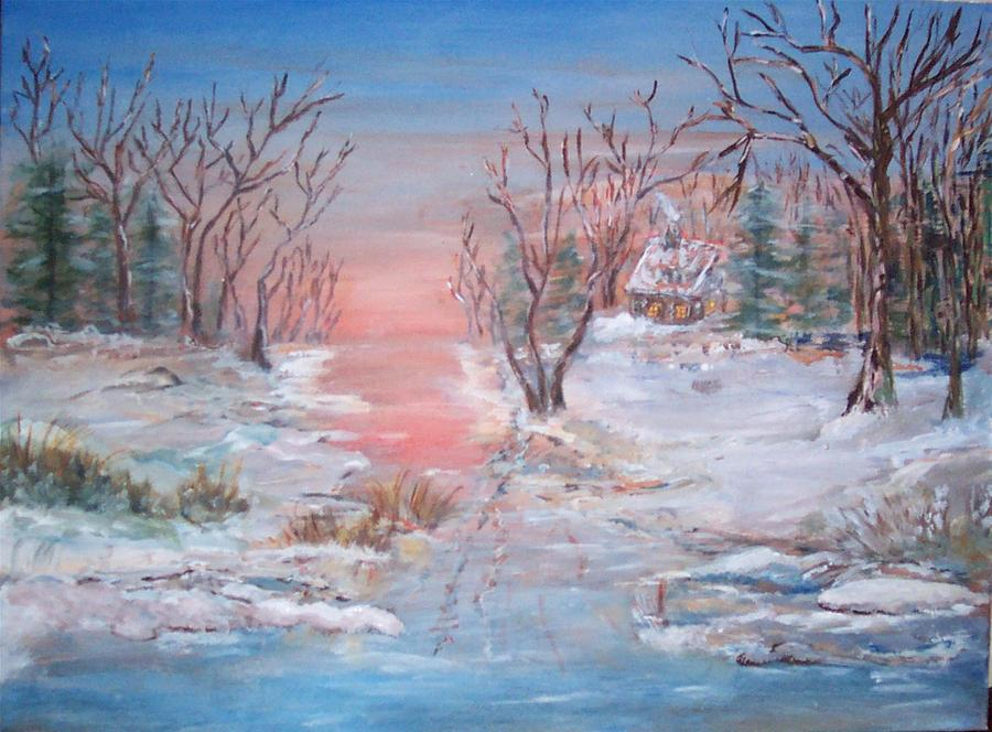 Landscape Painting - Cold Sunset by Mary Sedici