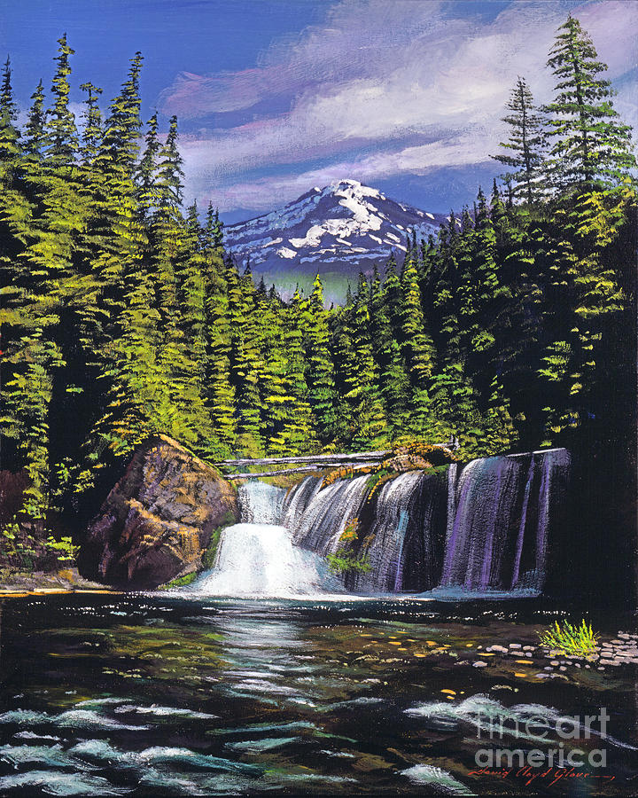 Forest Painting - Cold Water Falls by David Lloyd Glover
