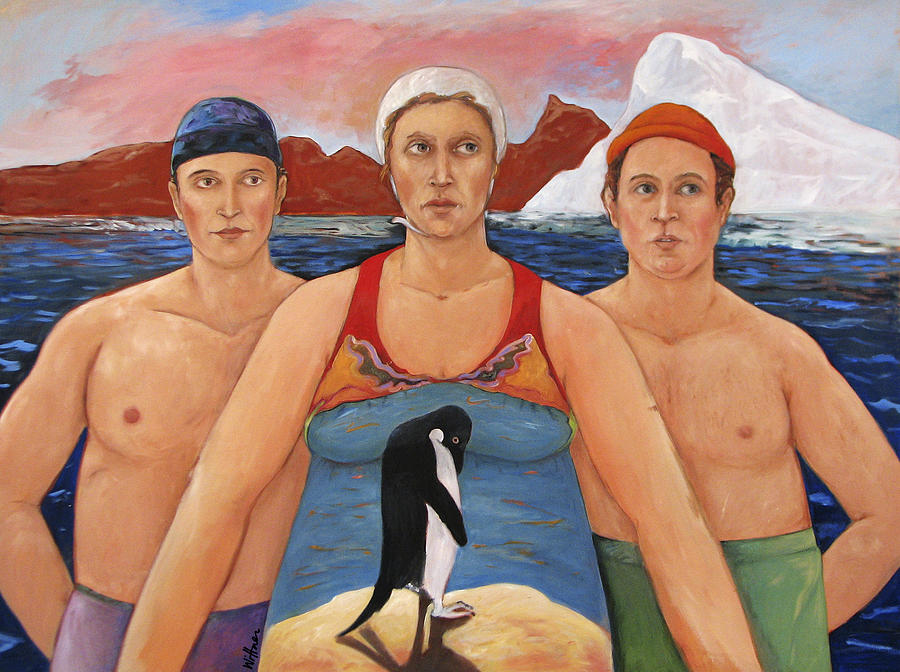 Paint Painting - Cold Water Swimmers by Paula Wittner