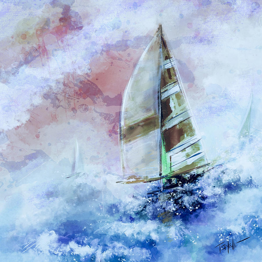 Sailing Living For The Moment Mixed Media
