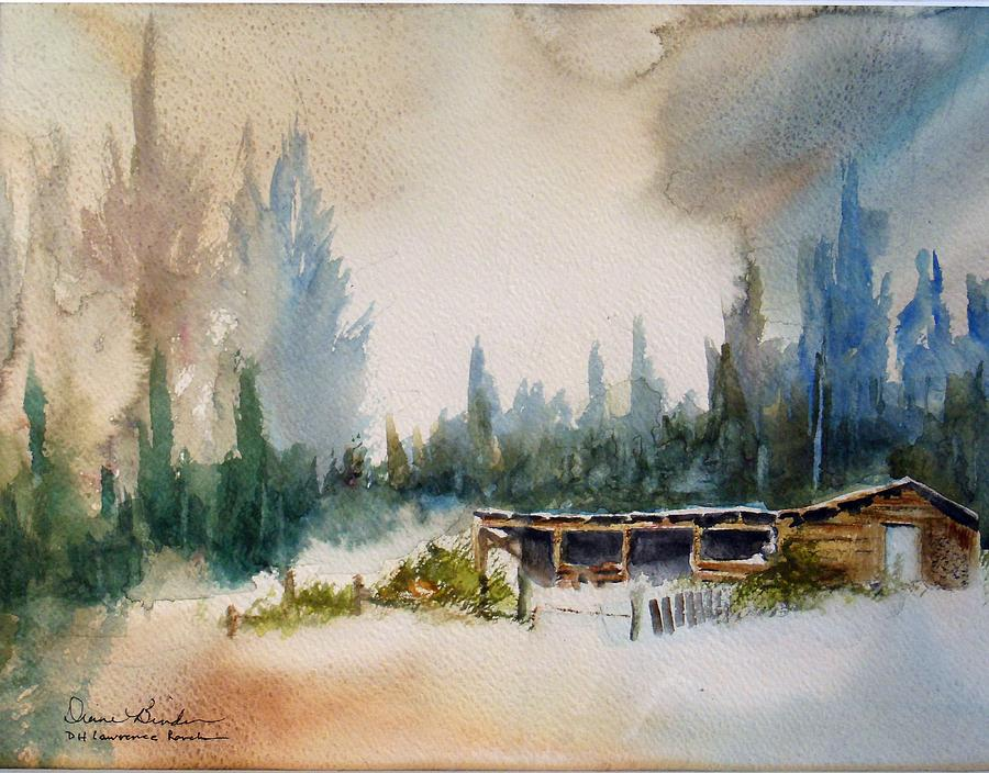 Winter Painting - cold winters day at DH Lawrence Ranch by Diane Binder
