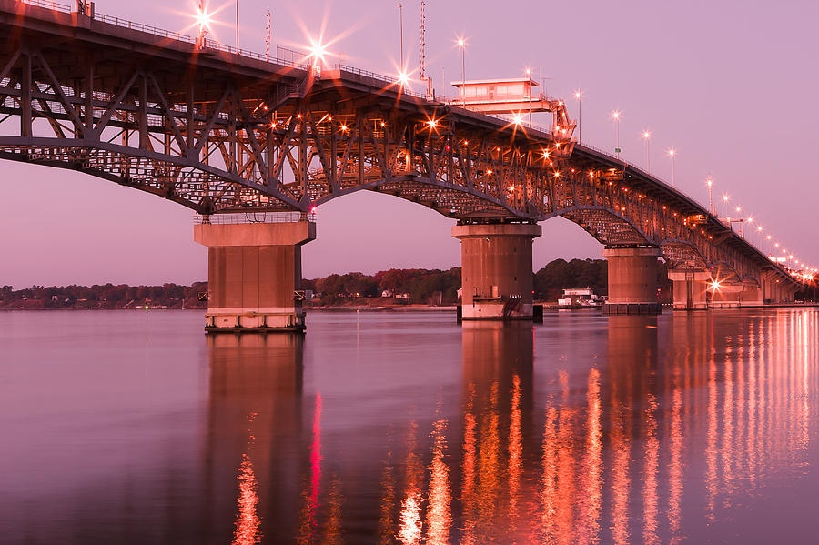 Scenic Photograph - Coleman Bridge at Sunset by Lisa McStamp