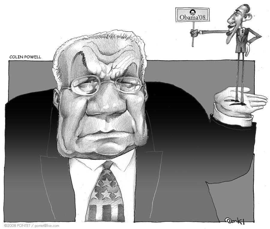 Cartoon Drawing - Colin Powell And Obama by Caricatures By PONTET