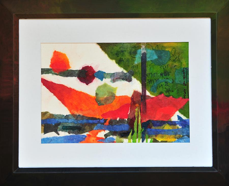 Abstract Mixed Media - Collage B by Manjit Singh Chatrik