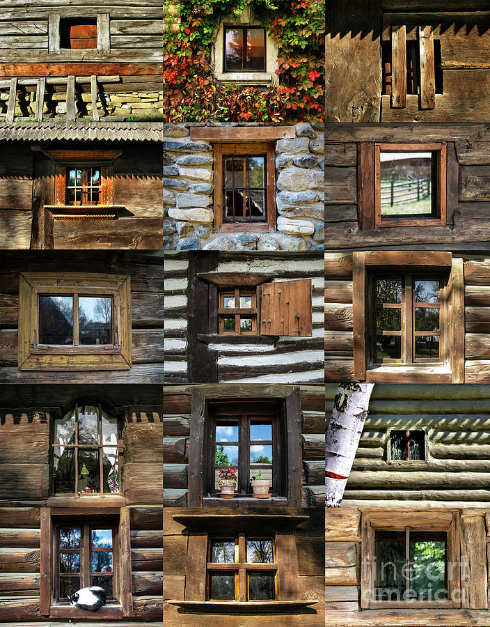 Collage From Handmade Traditional Wooden Windows In Village Museum Bucharest