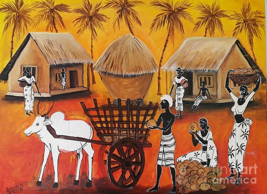 Landscape Pastel - Collecting Coconut by Sudumenike Wijesooriya