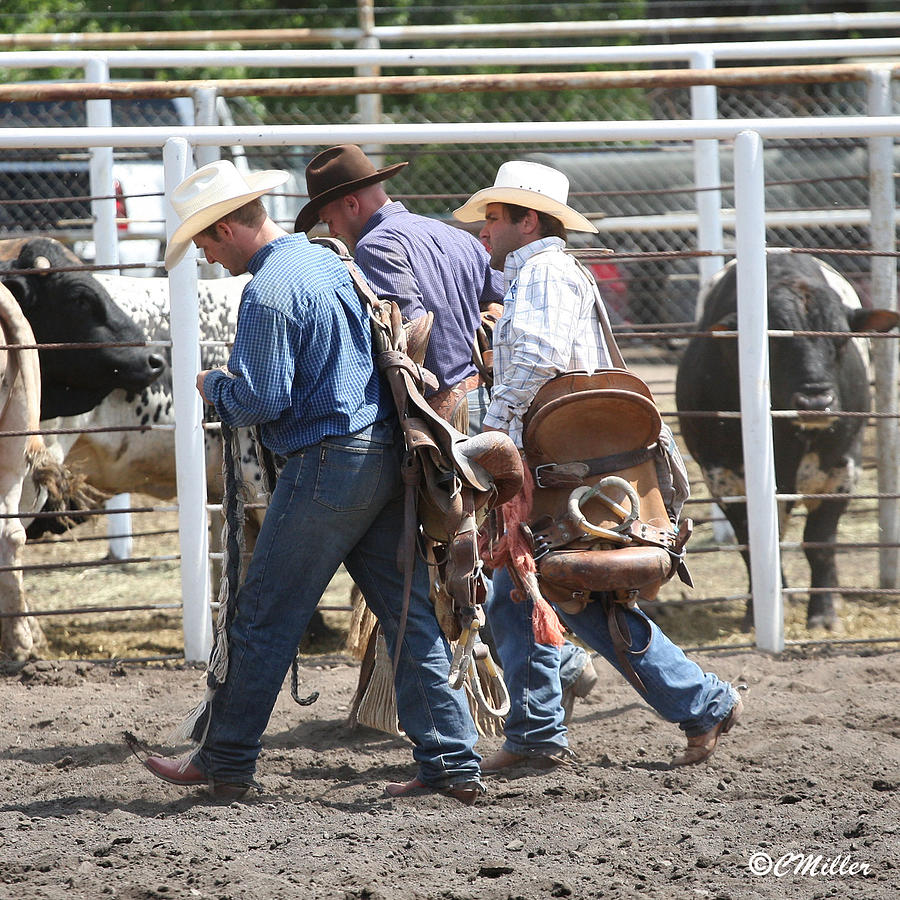 Cowboy Photograph - Collecting Their Gear... by Carol Miller