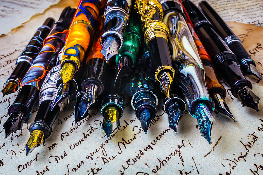 Fountain Photograph - Collection Of Fountain Pens by Garry Gay