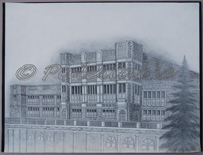 Building Drawing - Collegiate Academy by Alice Stanton