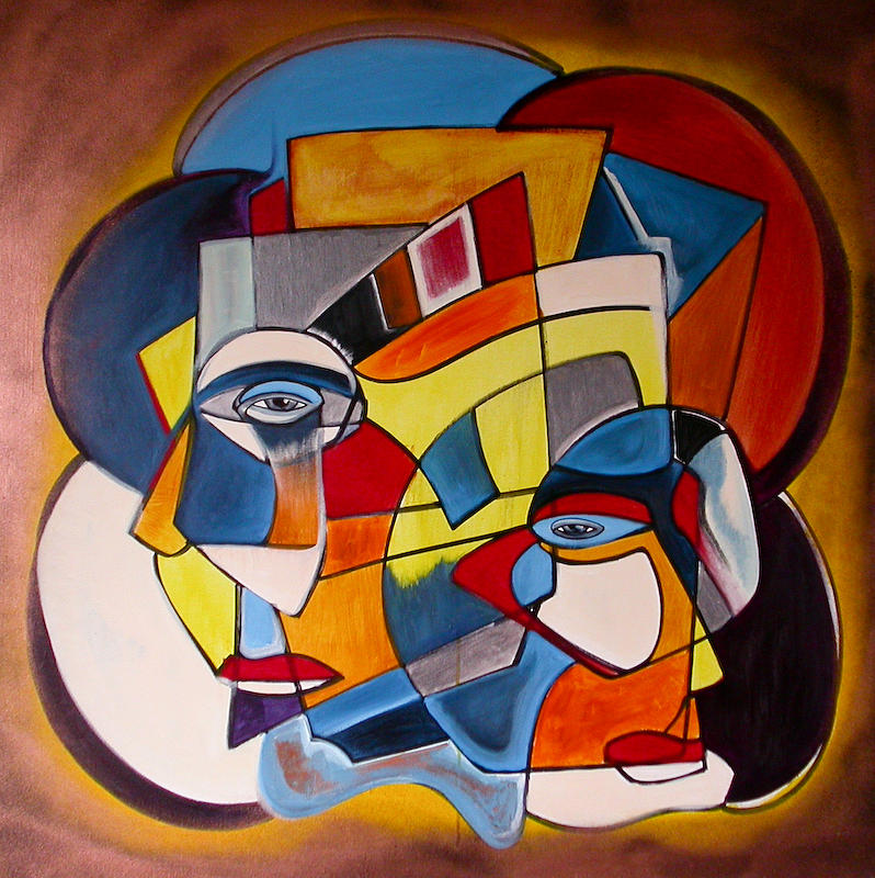 Cubism Painting - Colliding Lines by Robert Harris