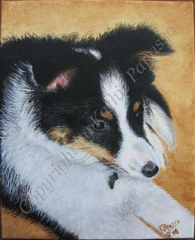 Dog Painting - Collie Puppy by Kathie Papasso