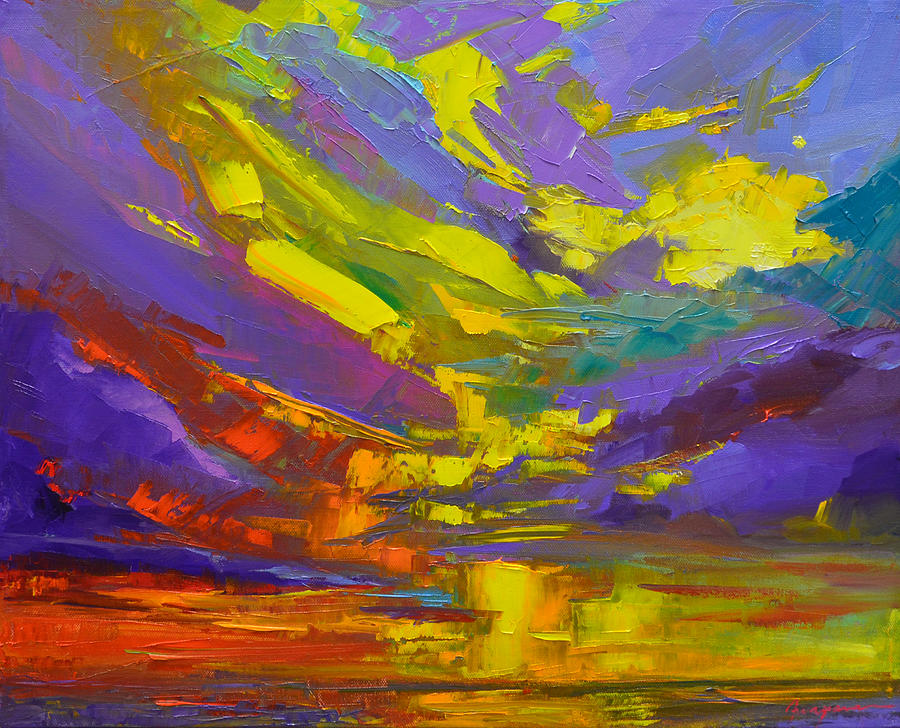 Coloful Sunset, oil painting, Modern Impressionist Art by Patricia Awapara